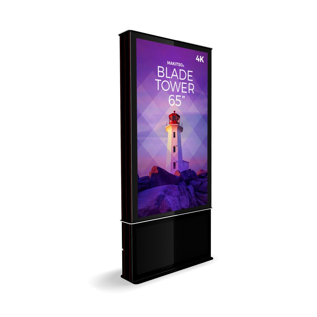 "Makitso Blade Tower 65"" Pro Digital Signage Kiosk in black"