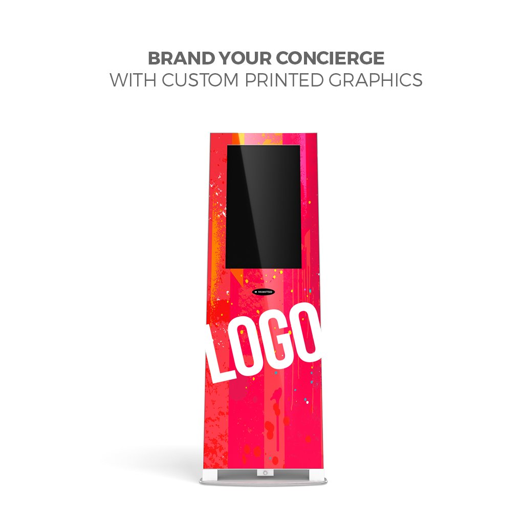 "Makitso® Concierge Digital Retail Kiosk Solutions 21.5"" Custom Printed front view"