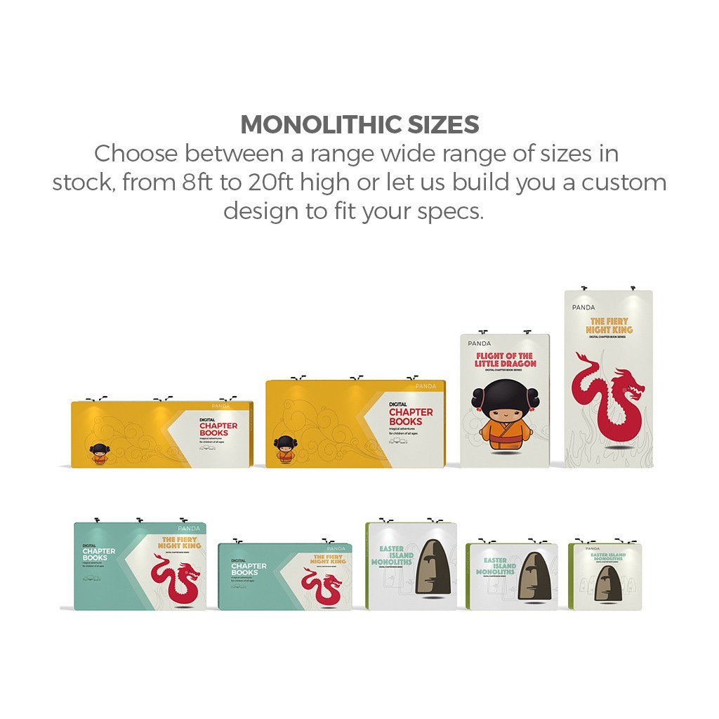 BrandStand® Monolith Tension Fabric Display Wall Exhibit sizes and shapes
