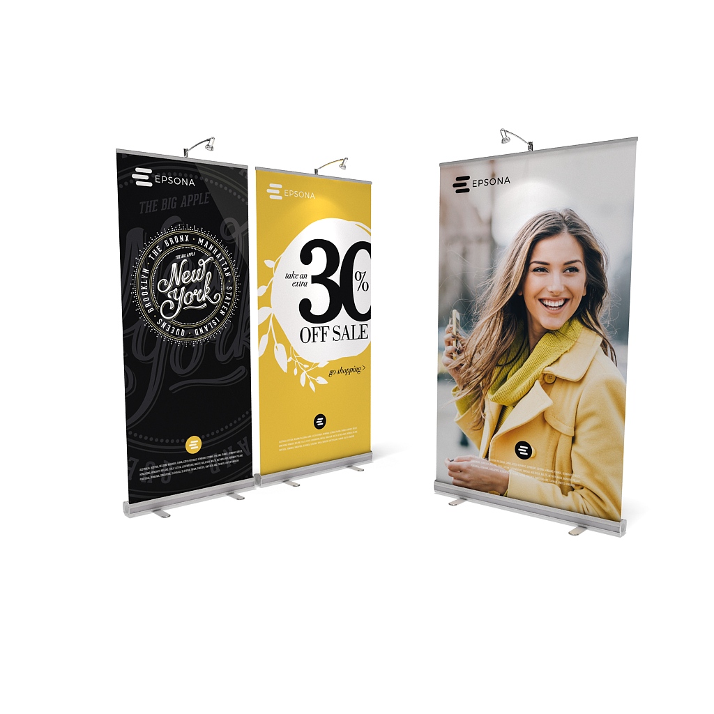 BrandStand® 1 Rollup Retractable Banner Stand Silver sizes