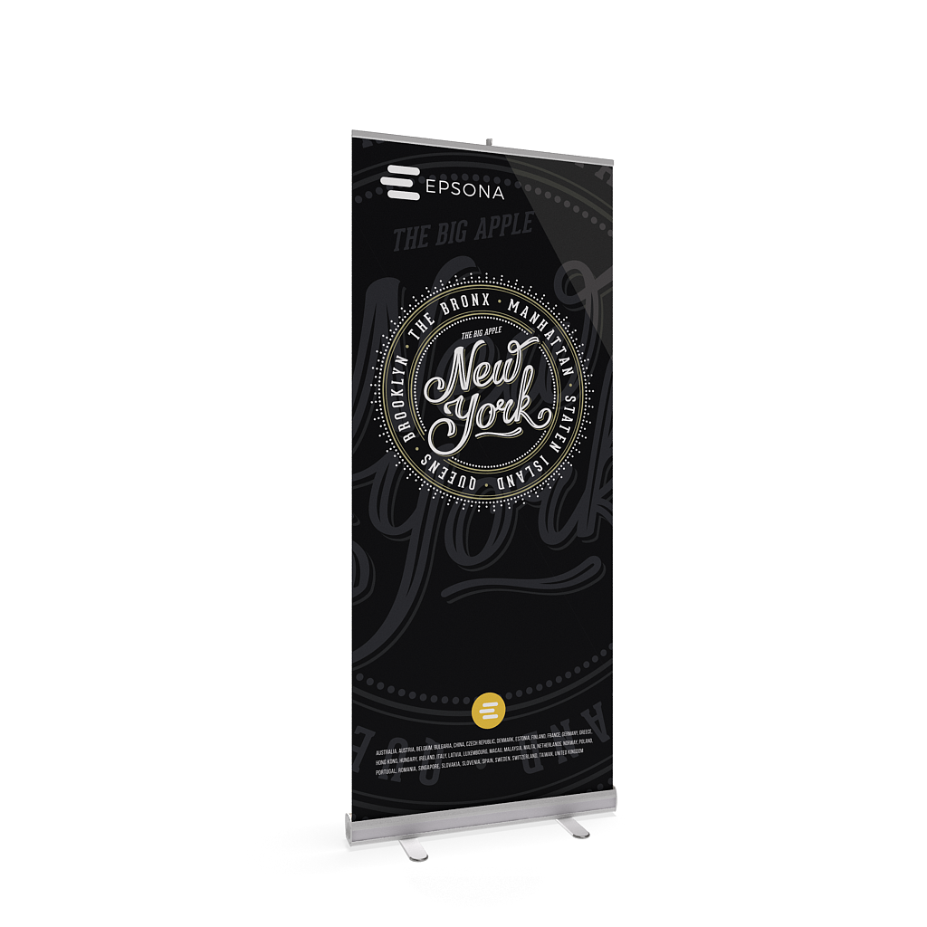 BrandStand® 1 Rollup Retractable Banner Stand Silver single-sided