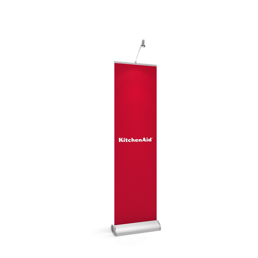 BrandStand 3.5 Rollup Retractable Banner Stand Silver with spotlight