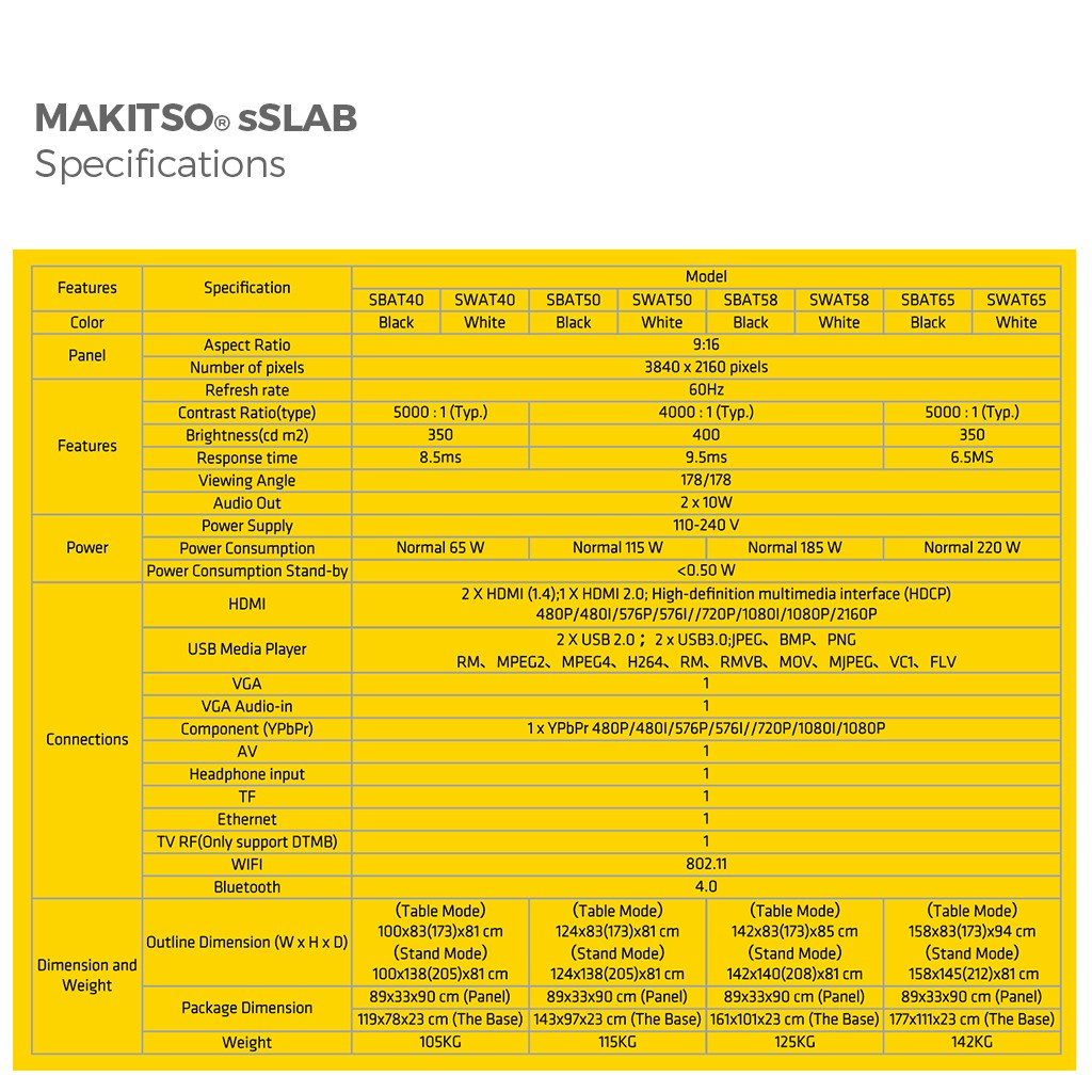 "Makitso Slab 40"" 4K Digital Signage and Table Top Display specifications"