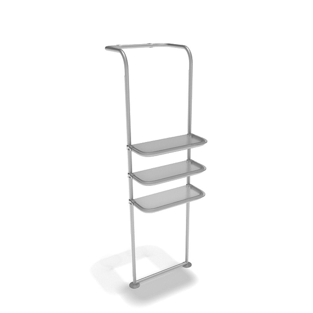 WaveLine® Waterfall Display Shelving for Trade Show Exhibits outside shelf