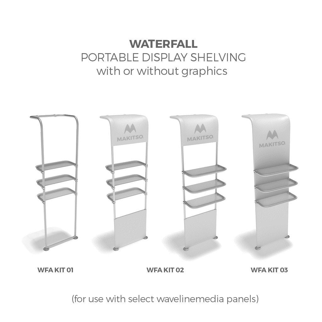 Makitso WavelineMedia WLMEFE Tension Fabric Display Waterfall Display Shelving