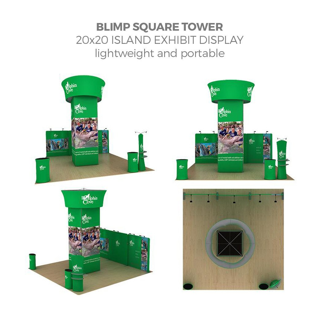 WaveLine® Blimp Squared Tower 20x20 Island Exhibit with 20ft back wall