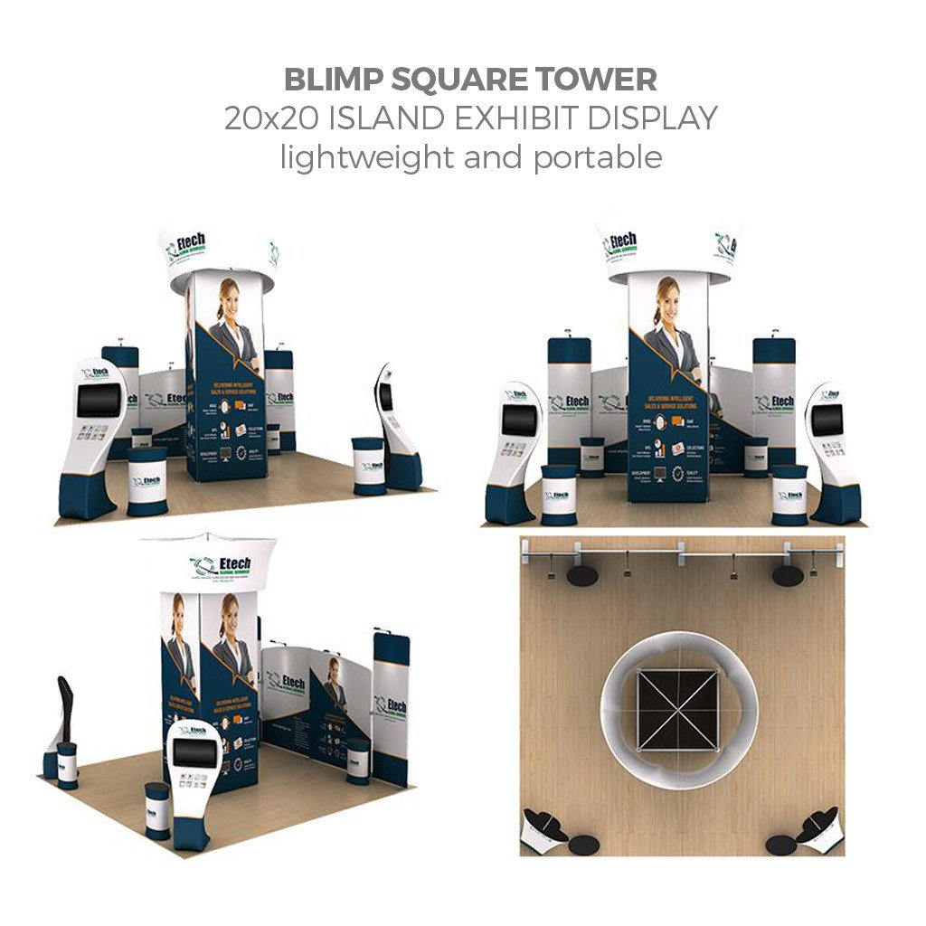 WaveLine® Blimp Squared Tower 20ft Island Exhibit with interactive kiosk