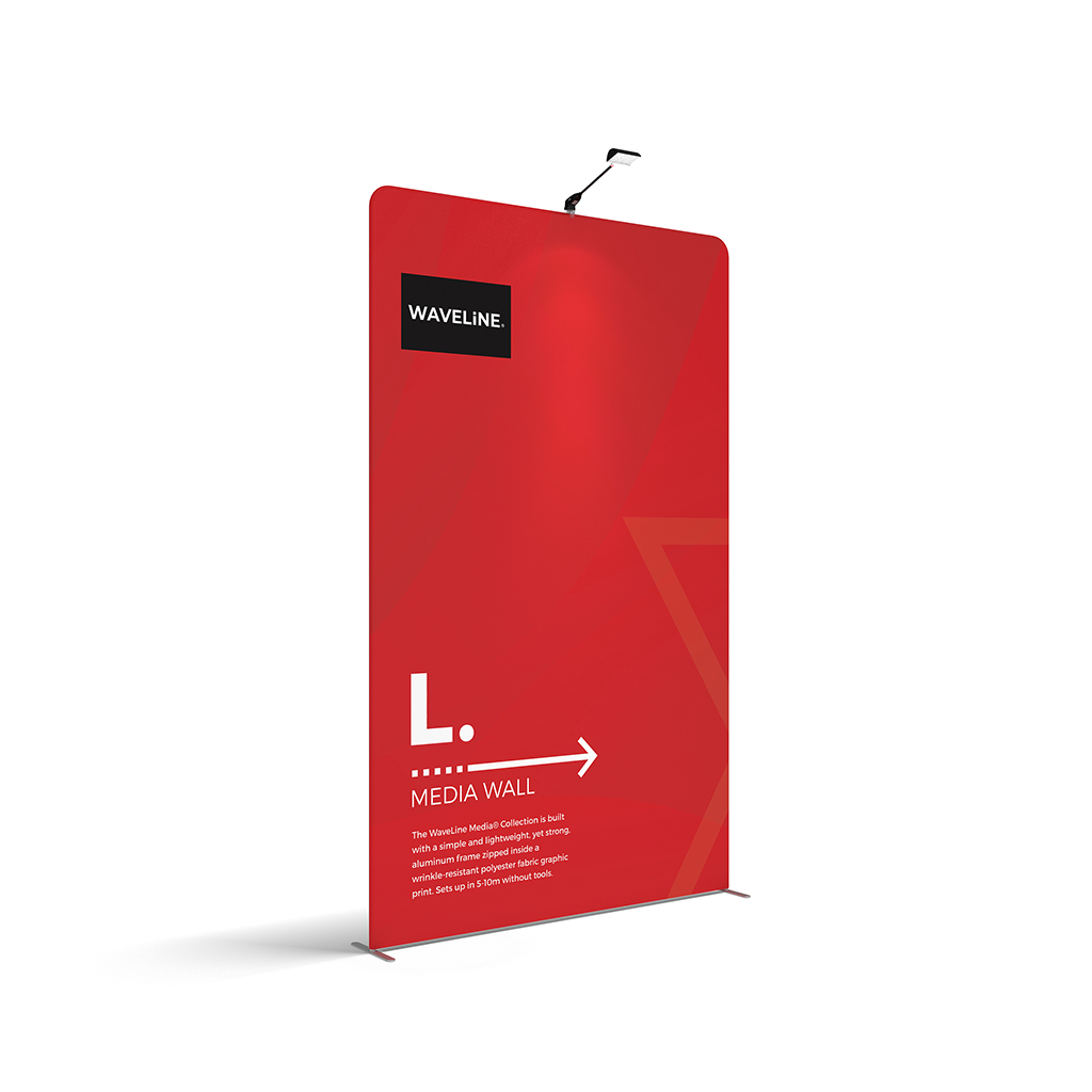 WaveLine® Media Display Wall L Modular Tension Fabric Display Wall. Event marketing trade show display wall. Angle View WaveLine® Media Display Wall Modular. WLM-2000L