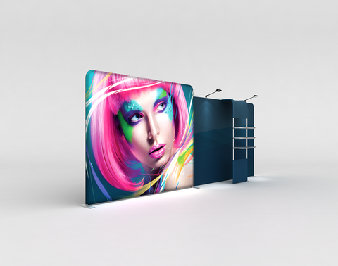 WaveLight® LED Backlit Tension Fabric Display 20ft for Trade Shows and Events