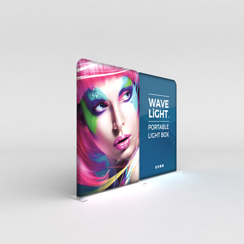 WaveLight® LED Backlit Tension Fabric Display 10ft for Trade Shows and Events