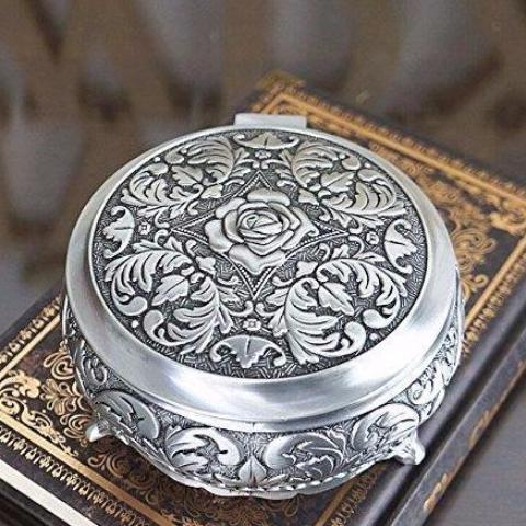 Round Floral Carved Jewelry Box - Mandala Jane