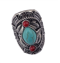Red Turquoise Tribal Ring - Mandala Jane