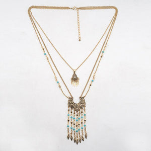 Boho Charm Layered Necklace - Mandala Jane