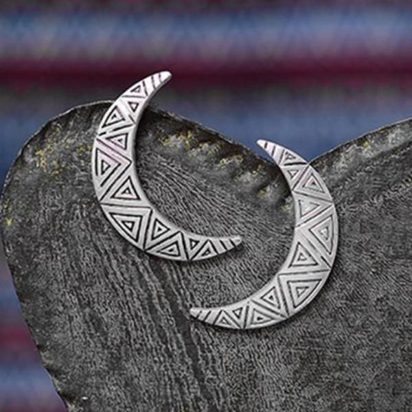 Geometric Crescent Moon Earrings - Mandala Jane