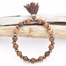 Wooden Beaded Tassel Bracelet - Mandala Jane