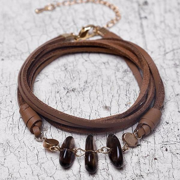 Smoky Quartz Leather Bracelet - Mandala Jane