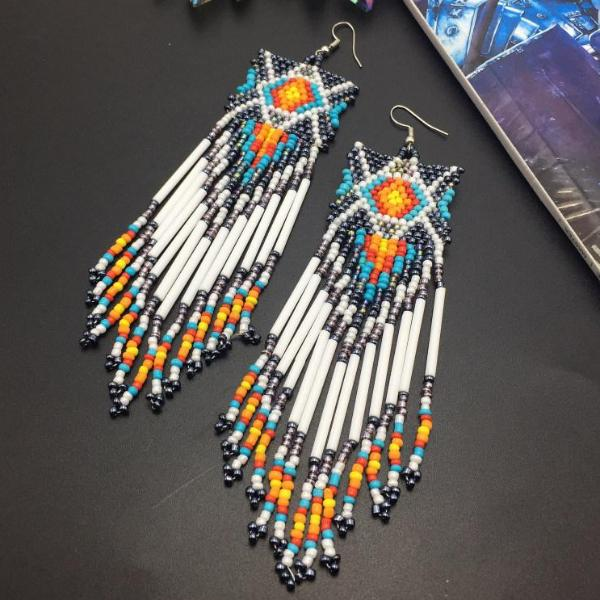 Southwestern Beaded Duster Earrings - Mandala Jane
