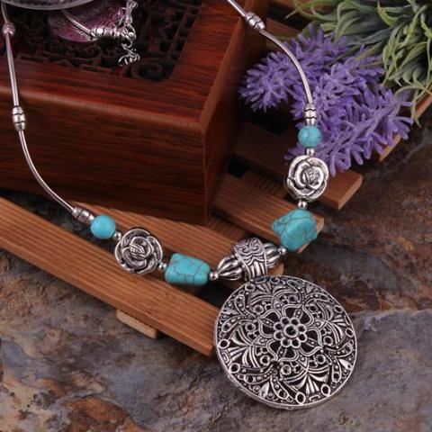 Hollow Mandala Turquoise Necklace - Mandala Jane