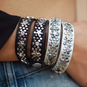 Star Charm Leather Wrap Bracelet - Mandala Jane