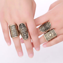 Tribal Carved Metallic Ring Set - Mandala Jane