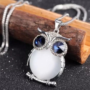 Crystal Owl Long Necklace - Mandala Jane