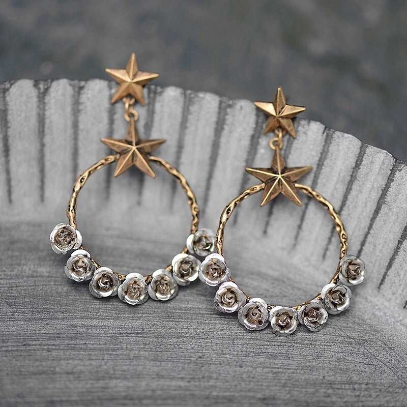 Starry Desert Rose Earrings - Mandala Jane