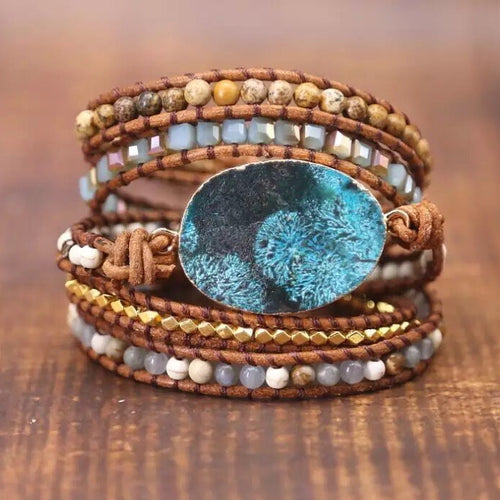 Hope Stone Beaded Wrap Bracelet - Mandala Jane