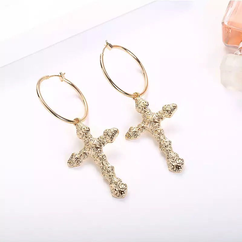 Golden Cross Hoop Earrings