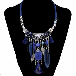 Royal Stone Feather Necklace - Mandala Jane