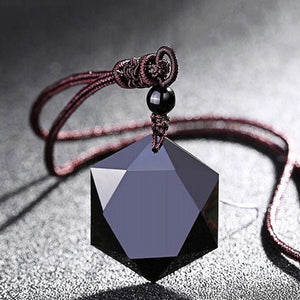 Obsidian Hexagon Pendant Necklace - Mandala Jane
