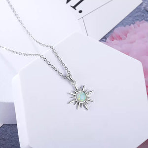 Opal Sun Pendant Necklace