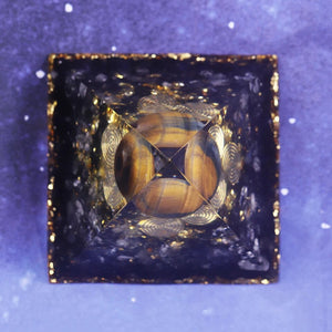 Obsidian & Tiger's Eye Pyramid - Mandala Jane