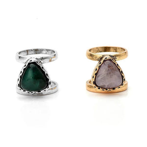 Geometric Stone Double Band Ring - Mandala Jane
