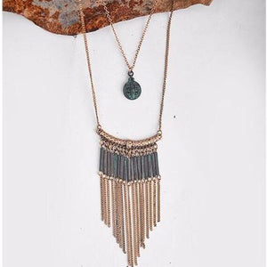Patina Medallion Layered Necklace - Mandala Jane