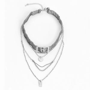 Layered Buckle Choker Necklace - Mandala Jane