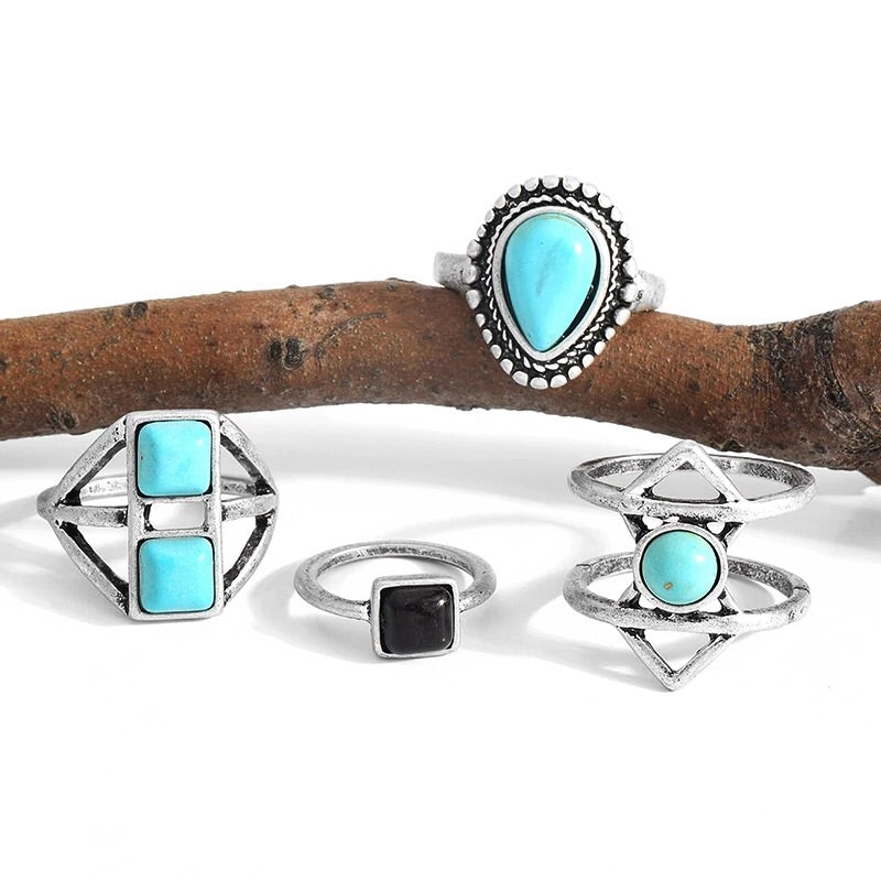 Turquoise Geometric Ring Set - Mandala Jane