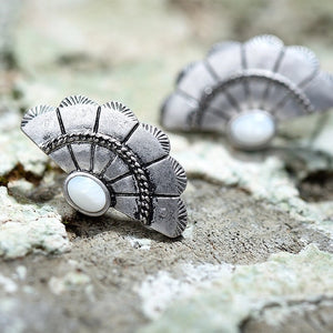 Baroque Fan Stud Earrings - Mandala Jane