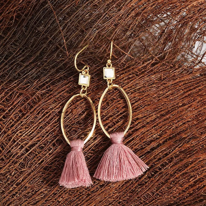 Pretty In Pink Tassel Earrings - Mandala Jane