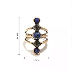 Stacked Lapis Stone Ring - Mandala Jane