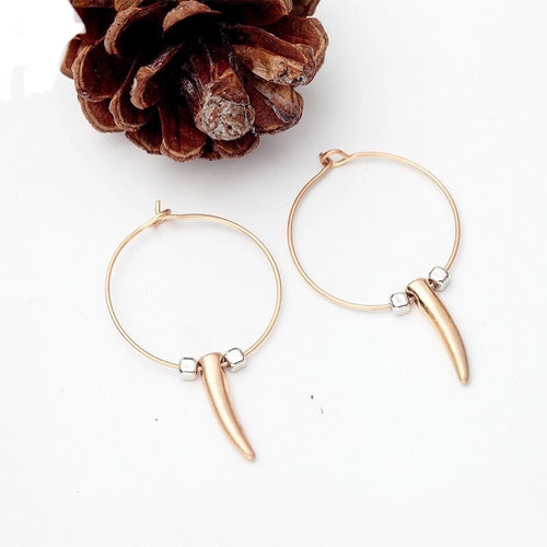 Golden Horn Hoop Earrings - Mandala Jane