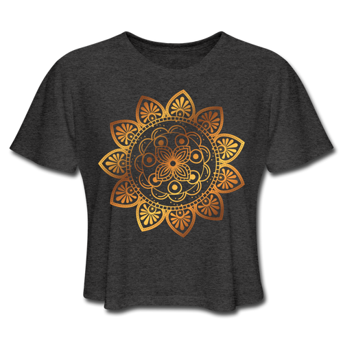 Mandala Cropped T-Shirt - deep heather