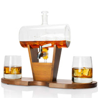 Whiskey Barrel Decanter Set with stand and lowball cups