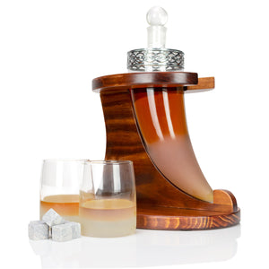 Viking Horn Decanter Set With Wooden Base, Tumbler Glasses & Whiskey Stones