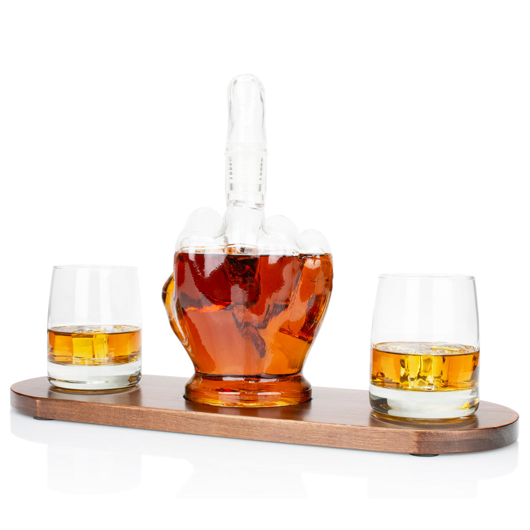 Middle Finger Whiskey Decanter with Wood Base, Premium Glasses & Whiskey Stones