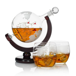 Atterstone Globe Whiskey Decanter Set, 850-ml Gift Set with Globe Glasses, 9 Whiskey Stones and Stainless Steel Funnel