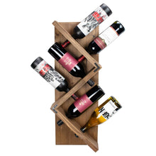 Stylish Wooden Wall Mounted Wine Bottle Display Rack: Holds 6 Bottles