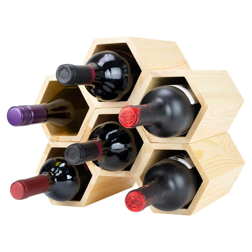 Customizable Honeycomb Wine Rack: Holds 6 Bottles