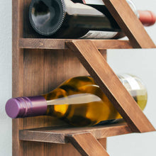 Rustic Wine Rack with Hanging Stemware Slots: Holds 5 bottles and 2 Glasses