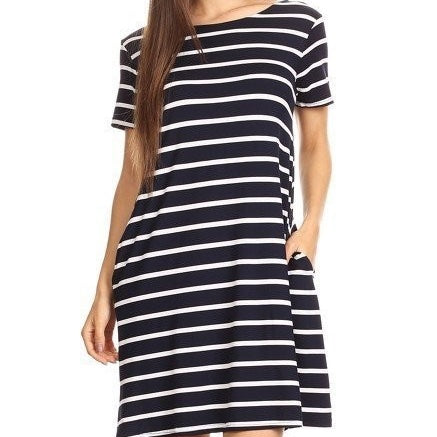 I've Got Plans Striped Dress- Navy - Cotton Charm Boutique