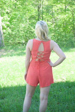 Time of Our Lives Romper- Coral - Cotton Charm Boutique